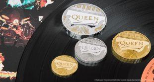 Queen en una moneda británica