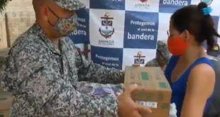 Armada de Colombia entrega ayudas humanitarias a más de 1.200 personas en Sucre